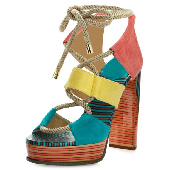 9cf8f1414a4ab9 Jimmy Choo Shoes - Jimmy Choo Halley Multicolor Rope Suede Sandals